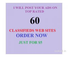 I Will post your advertisements in 50 Top Rated Classified Sites just for $3